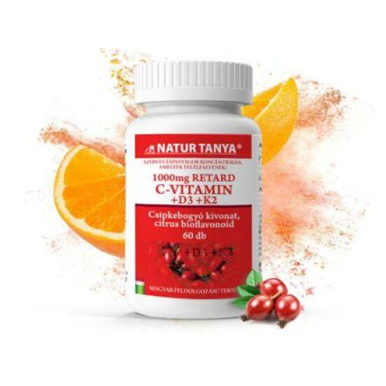 Natur Tanya® 1000 mg Retard C-vitamint, D3- és K2-vitamin
