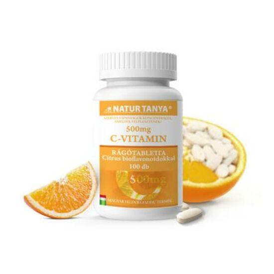 Natur Tanya® Szerves C-500 rágótabletta – 500mg C-vitamin, citrus bioflavonoidokkal dúsítva