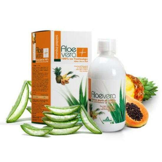 Specchiasol® Aloe Vera ital Ananász, Papaya - 8000 mg/liter acemannán tartalommal! IASC logó a dobozon.