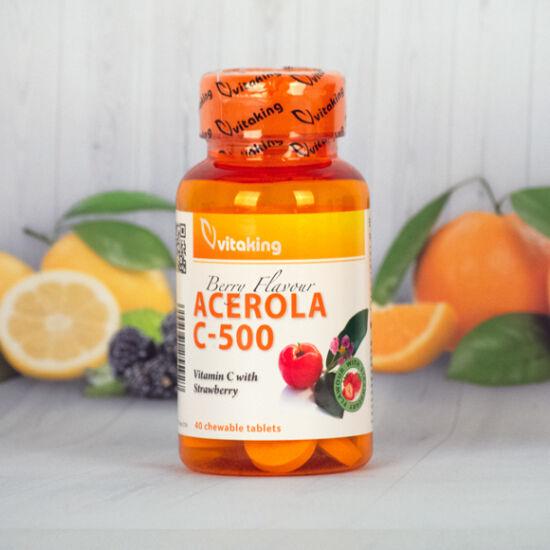 Vitaking Acerola C-500epres ízben (40 rágótabletta)